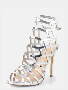 De Enrejado Metalizado Plateado Diseño Sandalias Tacón QxeBWrdCo