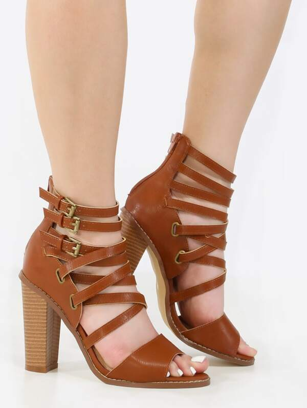 39792a98dc6 Open Toe Strappy Stacked Heels COGNAC