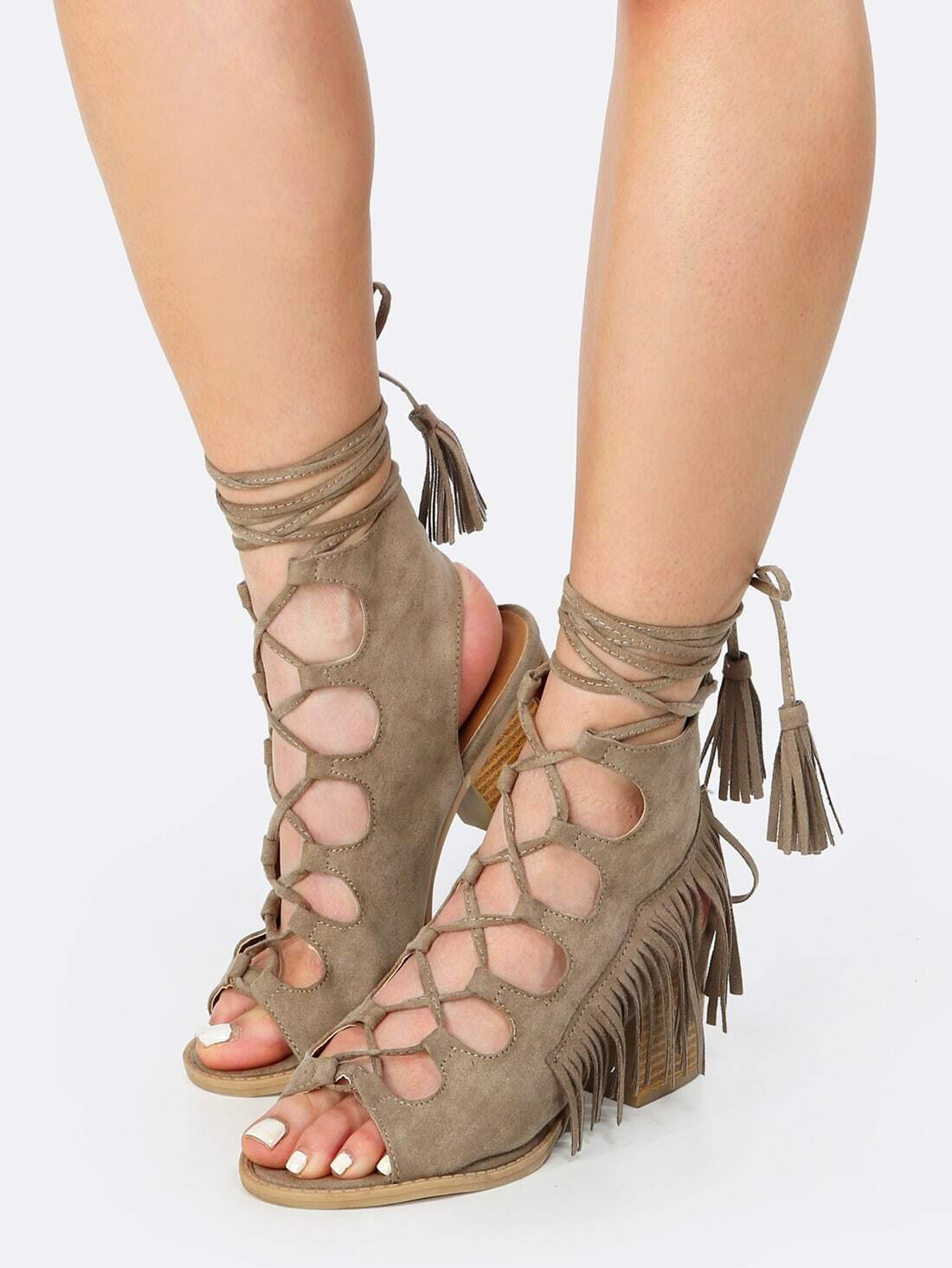 taupe lace up sandals