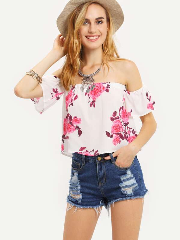 top motif à fleur épaule dénudée - rose -French SheIn(Sheinside) a7d2a16f5892