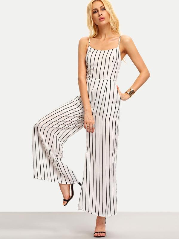 ca8506f2bc1 Black White Vertical Striped Spaghetti Strap Jumpsuit