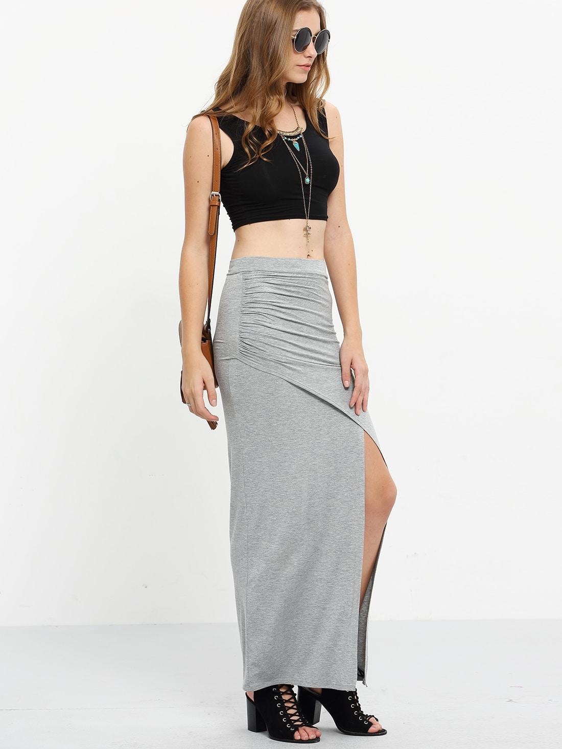 grey split pleated maxi skirt shein sheinside