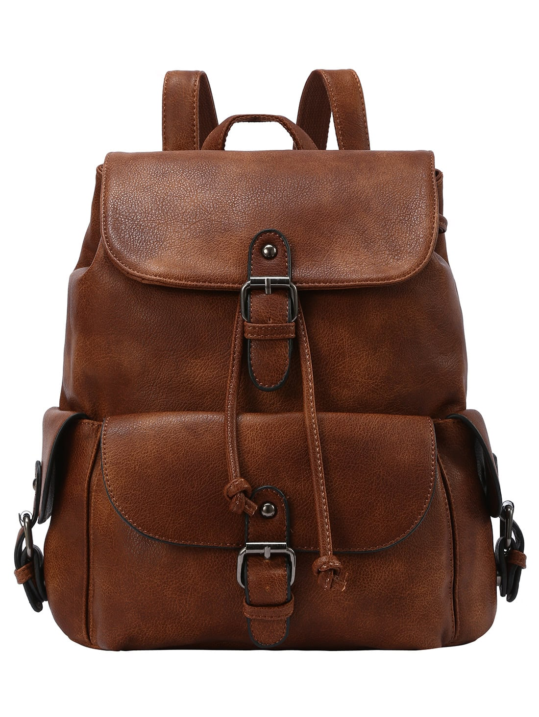 50886deae4 Buckled Flap Drawstring Backpack - Brown   SHEIN