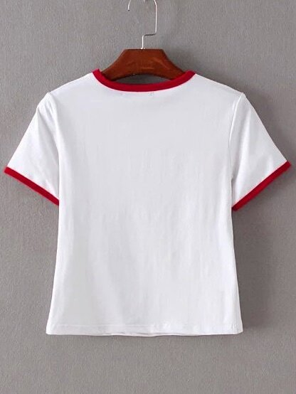 7aa17a5111ca Cheap Red Trim & Pocket White Crop T-shirt for sale Australia | SHEIN