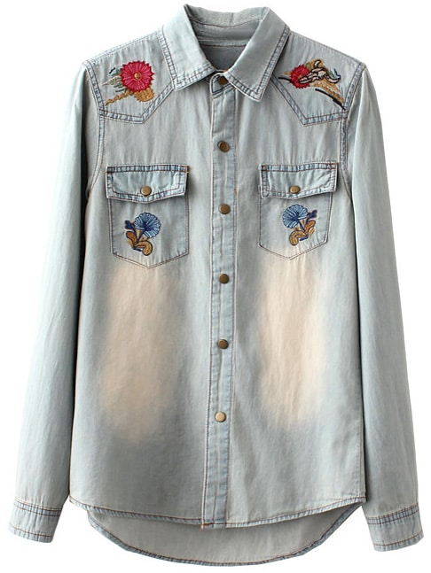 83f03a18281 Light Blue Pockets Embroidery Distressed Denim Blouse