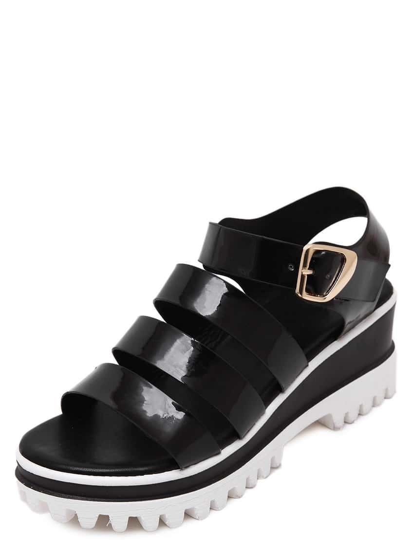 black open toe buckle platform sandals shein sheinside