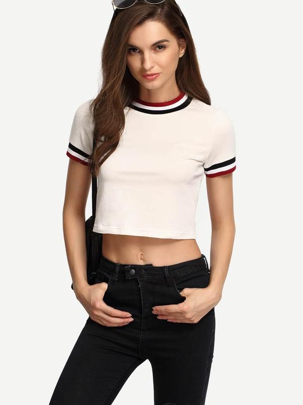 1b26a644c0 Crew Neck Short Sleeve Crop T-shirt   SHEIN