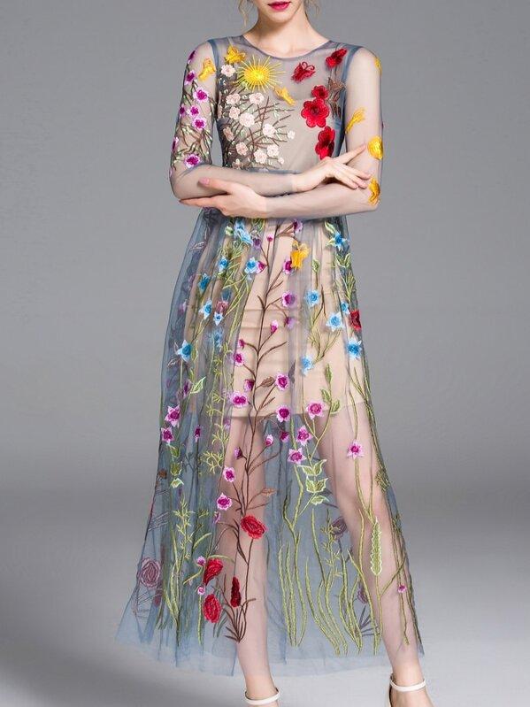 074119c8b7 Blue Sheer Gauze Embroidered Maxi Dress | SHEIN UK
