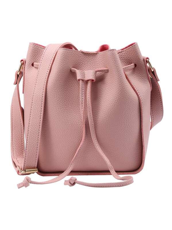 de8c1cca9b Embossed Faux Leather Drawstring Bucket Bag - Pink   SHEIN UK