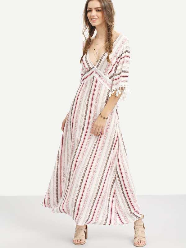 24fcd03579b Multicolor Striped Half Sleeve V Neck Maxi Dress