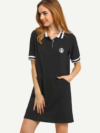 ae17dc1b41d47 فستان بولو أسود كم قصير