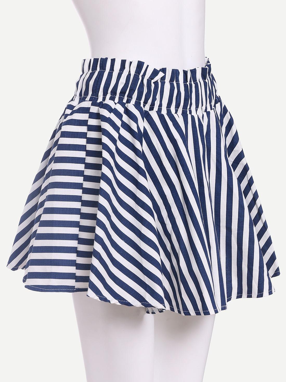 blue white striped a line skirt shein sheinside
