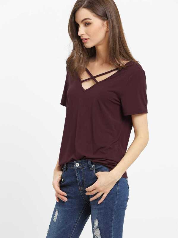 5871ea5b0f SheIn Women's Crisscross Cold Shoulder Half Sleeve T-Shirt - Dark Grey  X-Small. SheIn Women's Short Sleeve Crew Neck ...