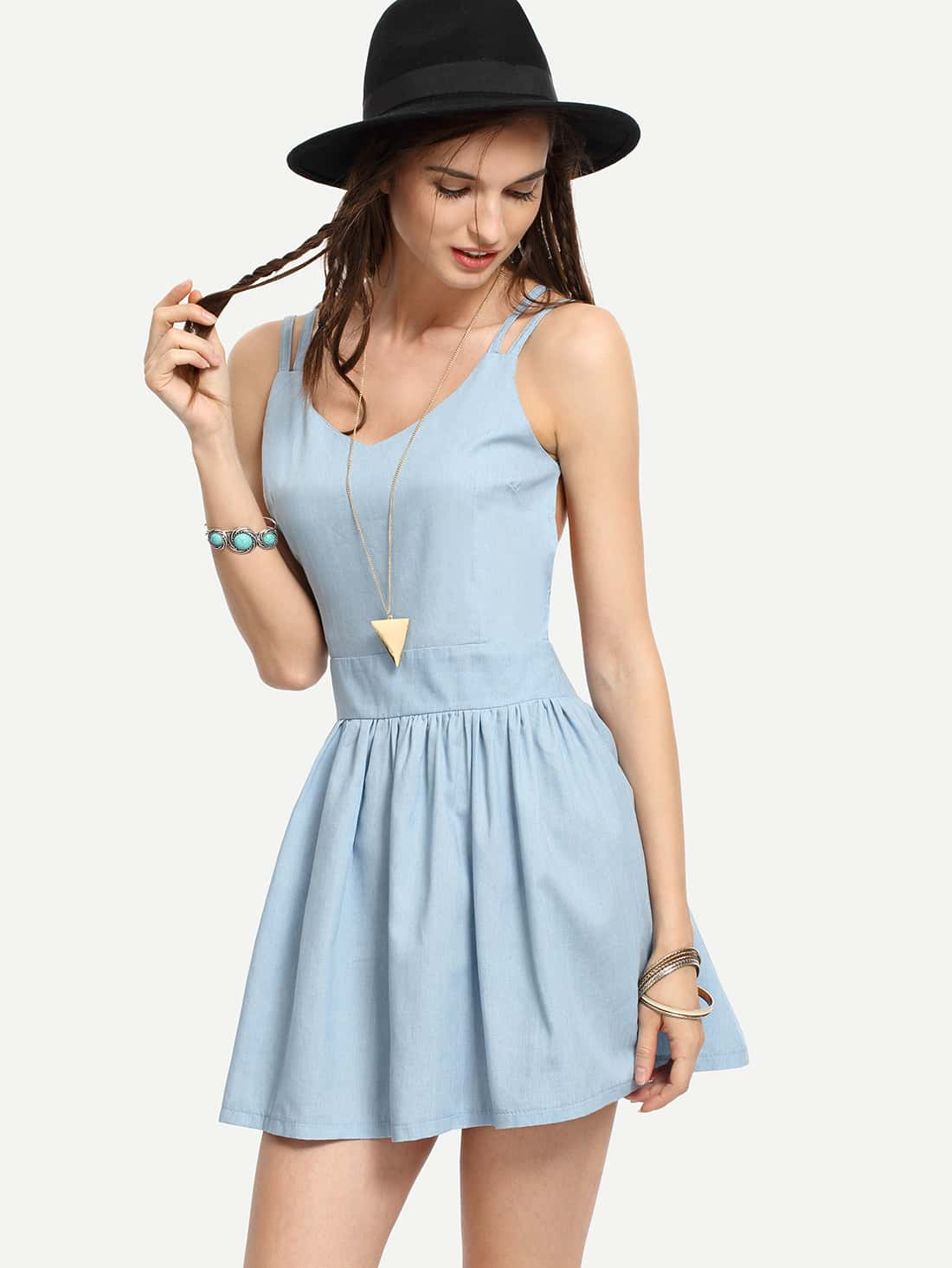 ea84a54306 Crisscross Backless Light Blue Skater Dress