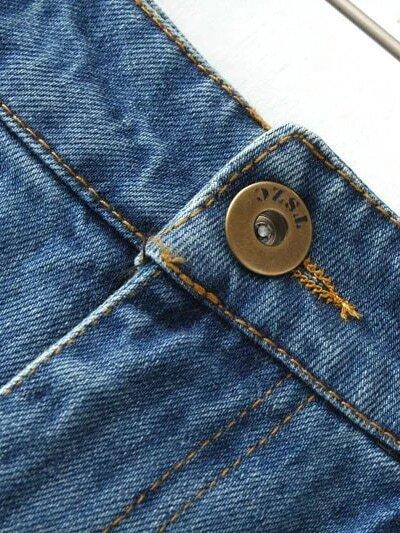 b3cf8ae7ac0 Blue Pockets Scratch Fringe Hem Denim Skirt