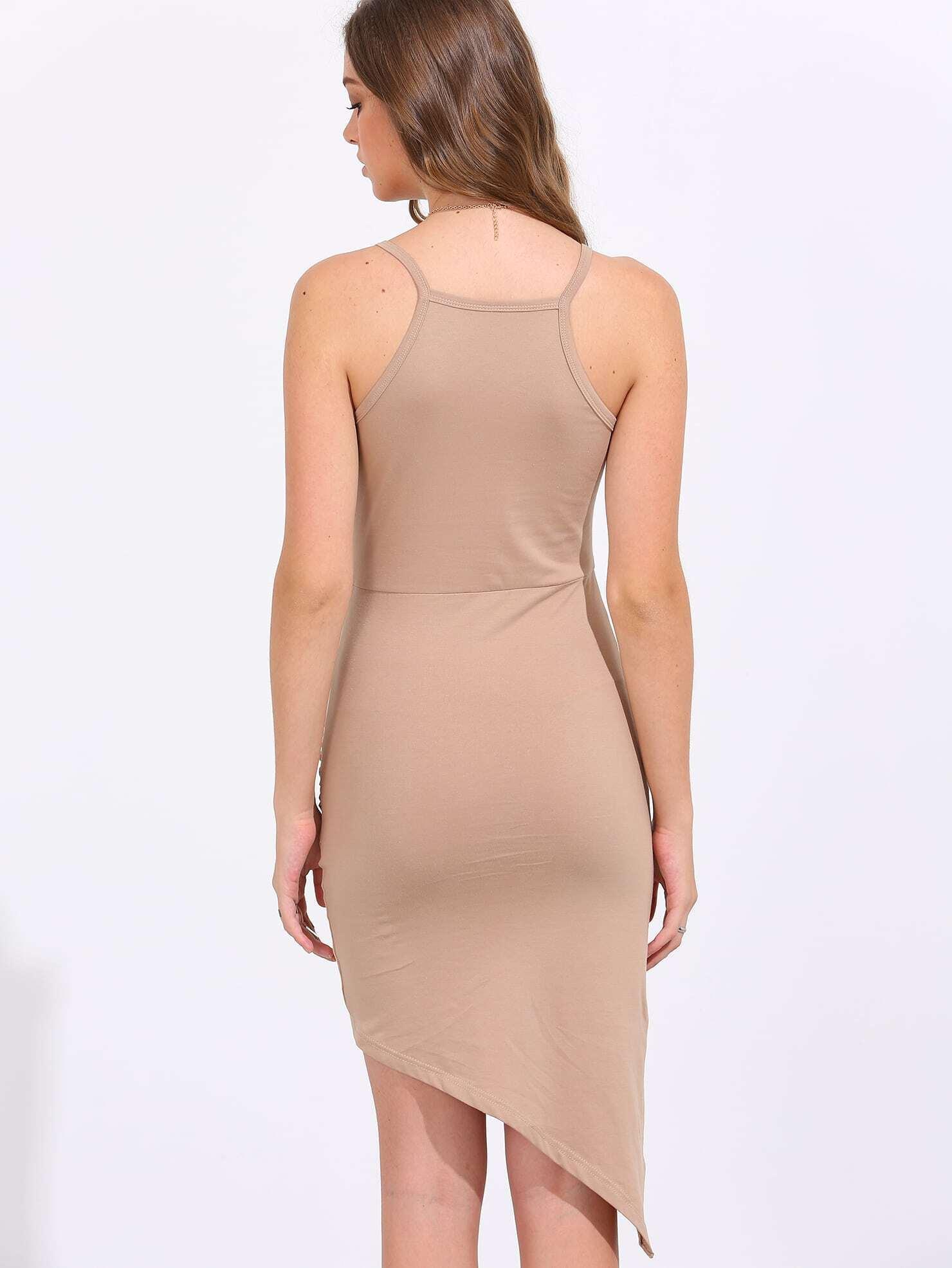 Sequin Embellished Gauze Overlay Back Slit Beige Dress race day