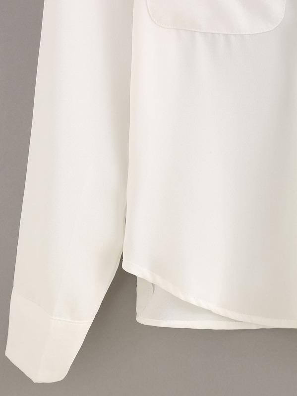 77340ff6b9 Lace-Up Dual Flap Pocket White Chiffon Blouse -SheIn(Sheinside)