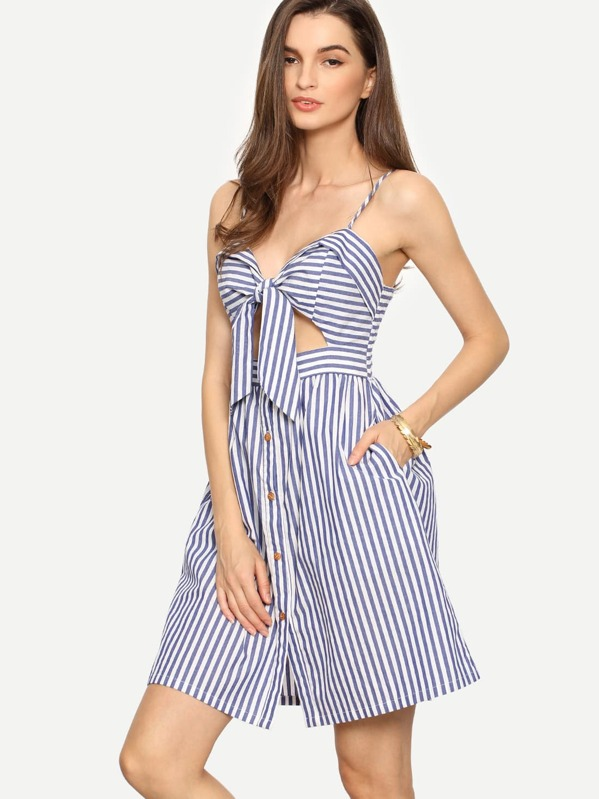 c8144184c43 Cami Straps Cut Out Bow Detail Dress -SheIn(Sheinside)