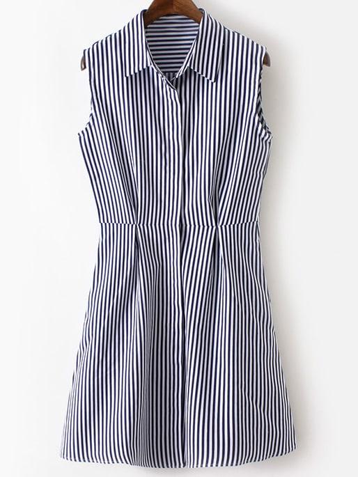 4cd7987db6ea Multicolor Lapel Sleeveless Buttons Front Stripe Shirt Dress | SHEIN
