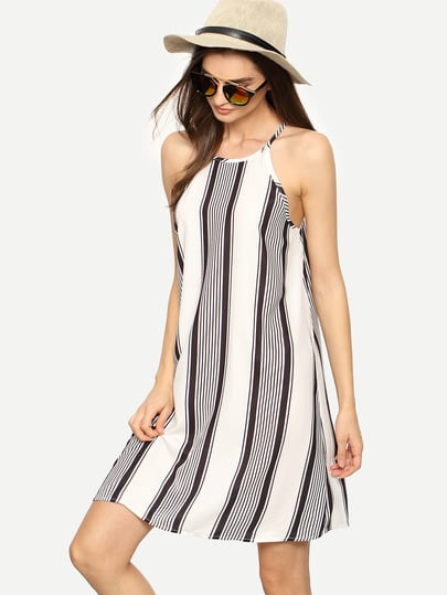 Negru alb Maieuri dungi Shift Dress
