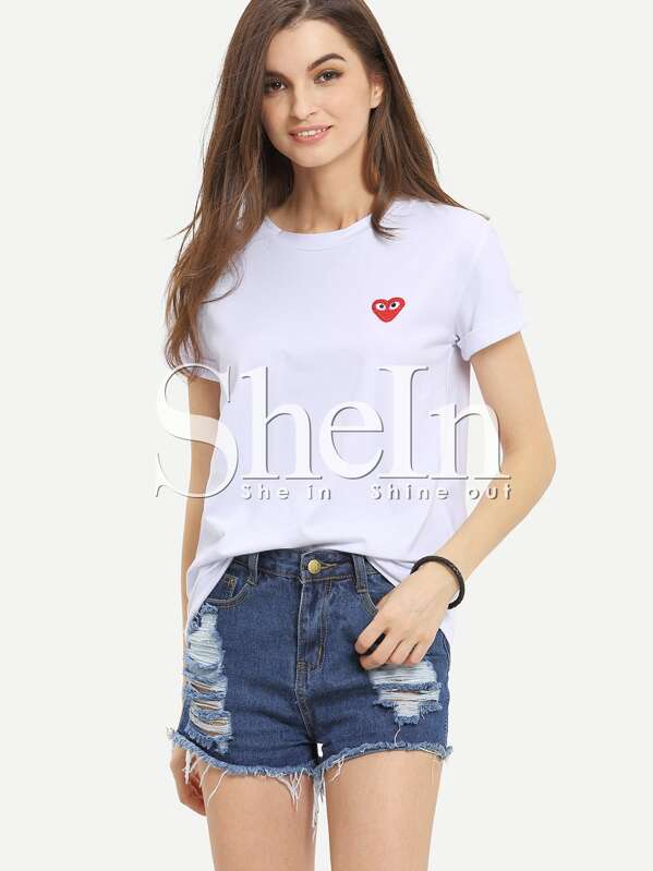 bf14dbe4534 White Short Sleeve Heart Embroidered T-shirt