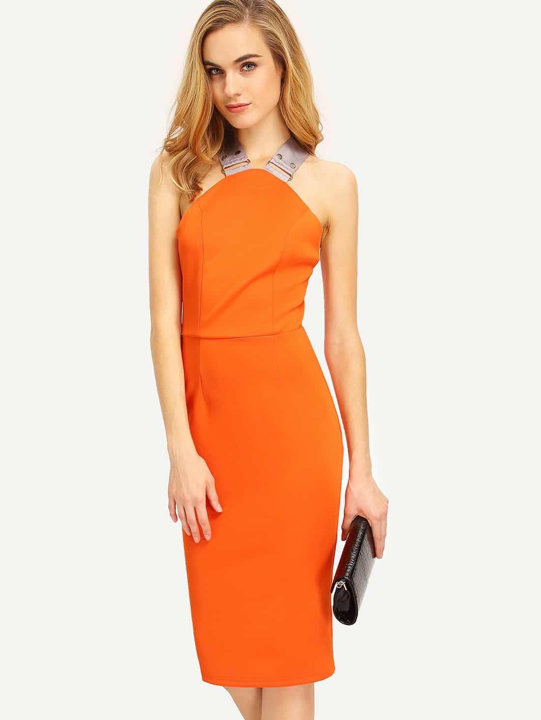 bleistift kleid r ckenfrei mit neckholder und rei verschluss orange german shein sheinside. Black Bedroom Furniture Sets. Home Design Ideas