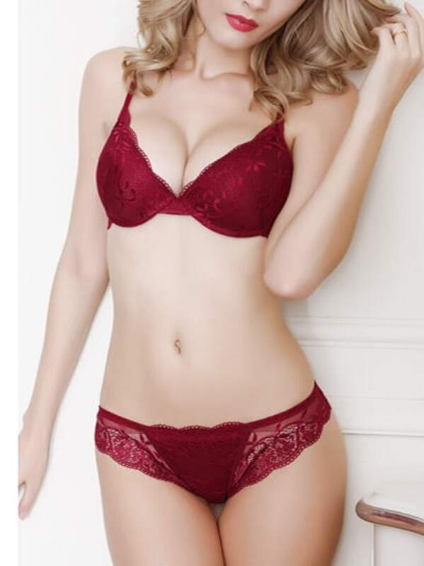 5be12ad4f9 Lace Push-Up Bra Set - Burgandy   SHEIN IN