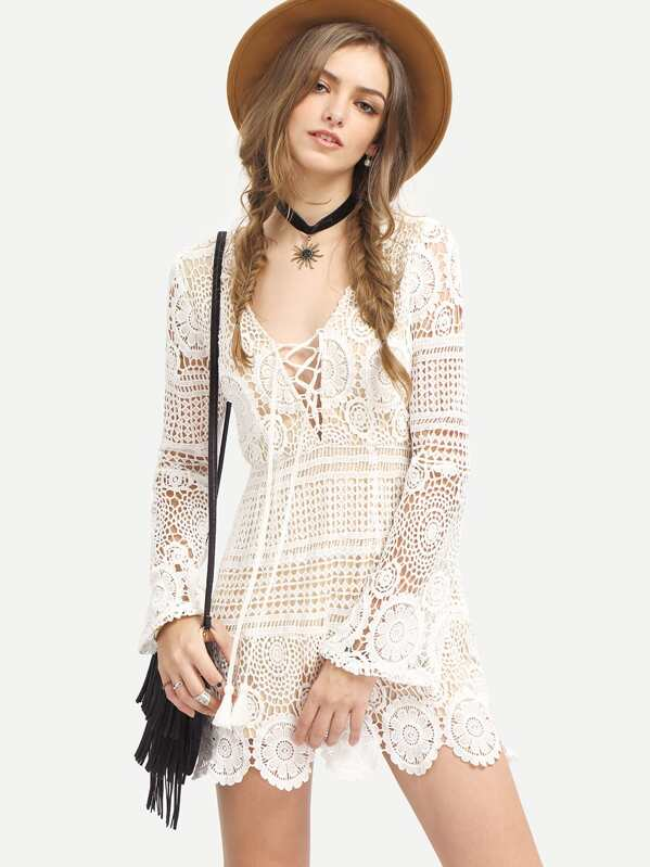 70faa8dbd5 White Long Sleeve Lace Up Lace Boho Dress | SHEIN UK