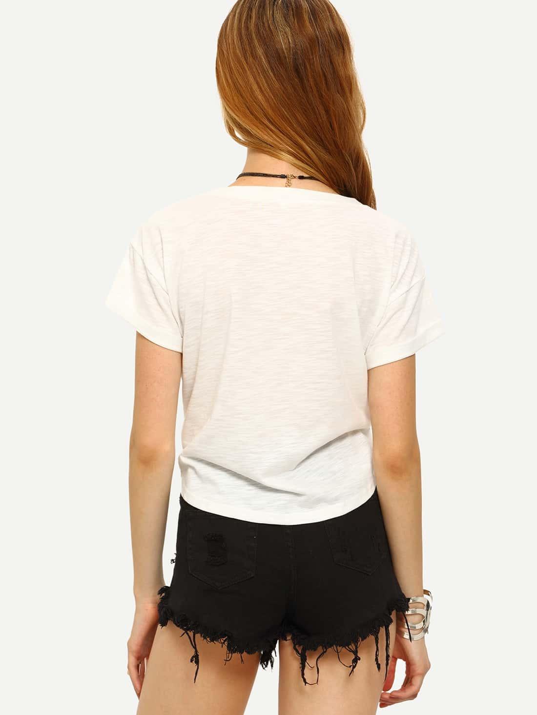 Kurzarm t shirt mit buchstaben druck und vorn gebunden for Mobel 9 buchstaben