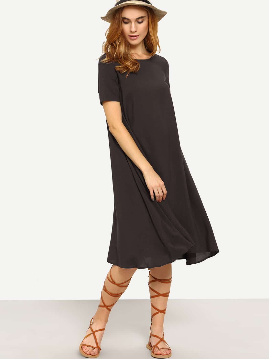 deep brown short sleeve knee length shift dress shein
