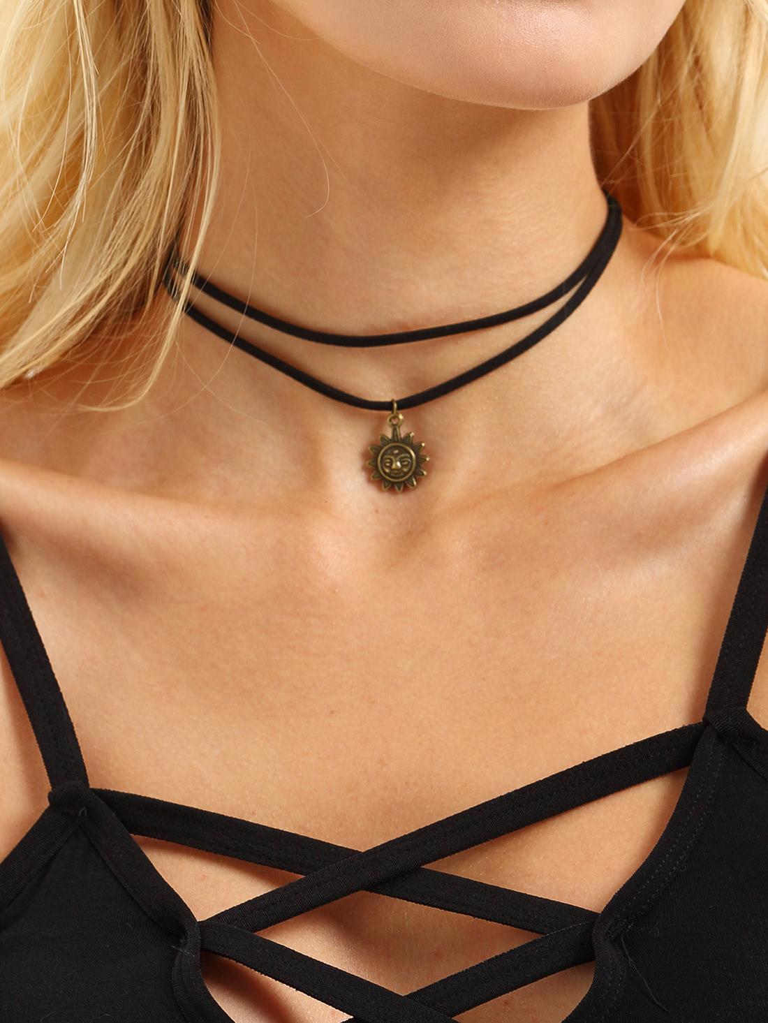 Layered Sun Pendant Choker Necklace