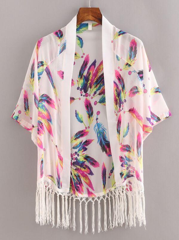 c8e617188 Macrame Fringe Feather Print Chiffon Kimono - White | SHEIN