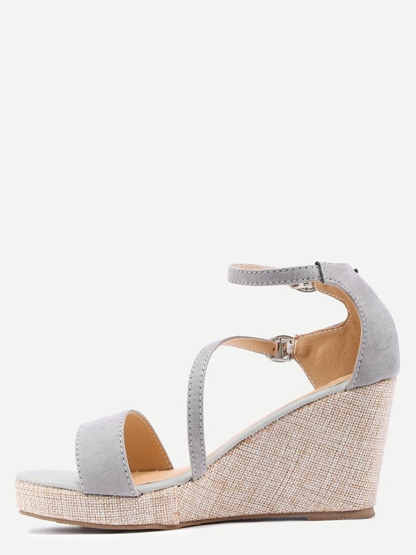 b5492fcb46891c Grey Ankle Strap Wedge Sandals -SheIn(Sheinside)