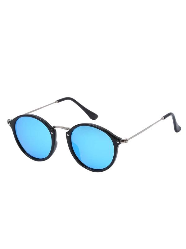 Lunettes de soleil monture ronde - bleu noir-French SheIn(Sheinside) 5b2500ff5276