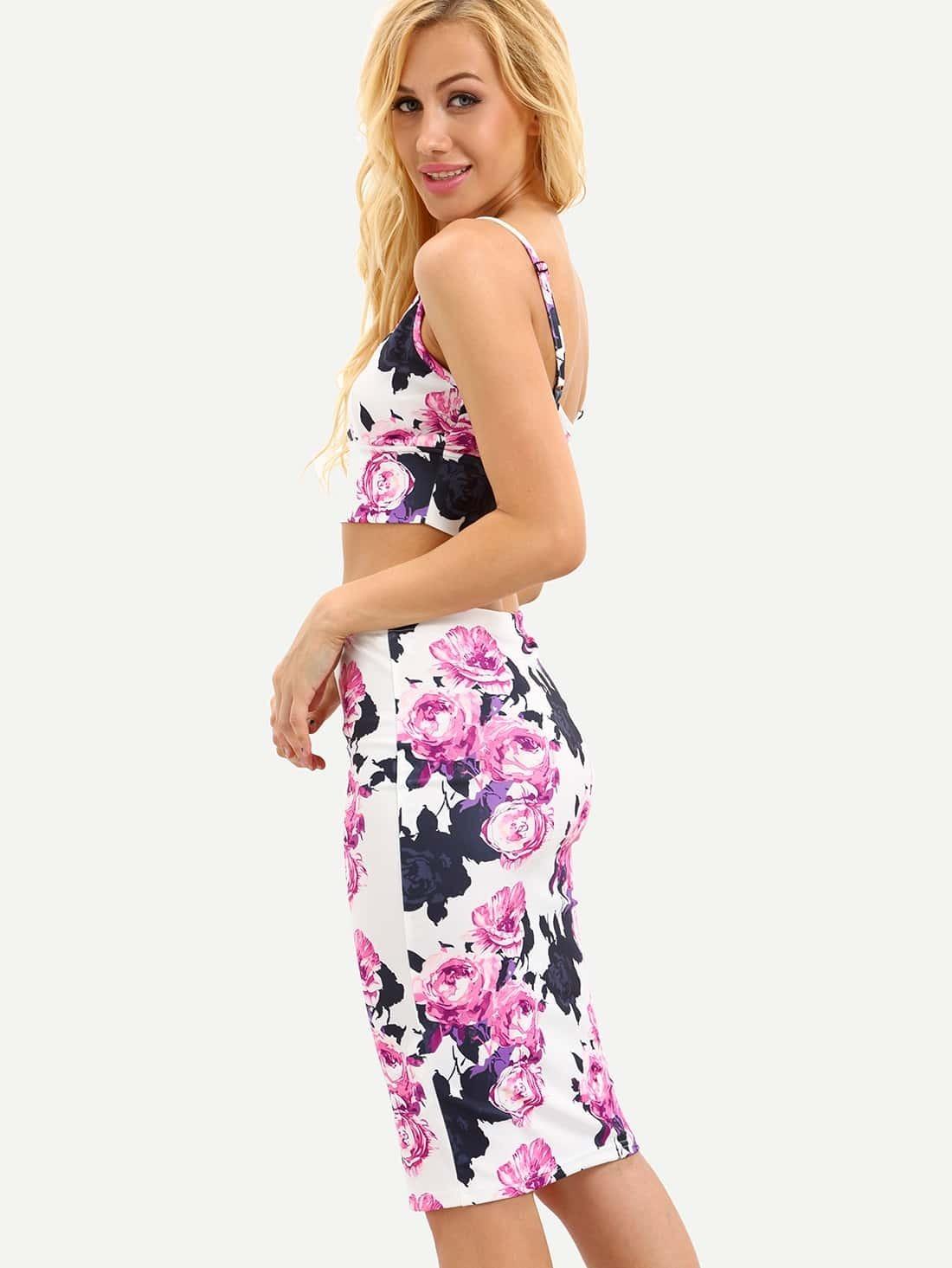 3f229feee148f3 Ensemble jupe fourreau motif fleuri - multicolore