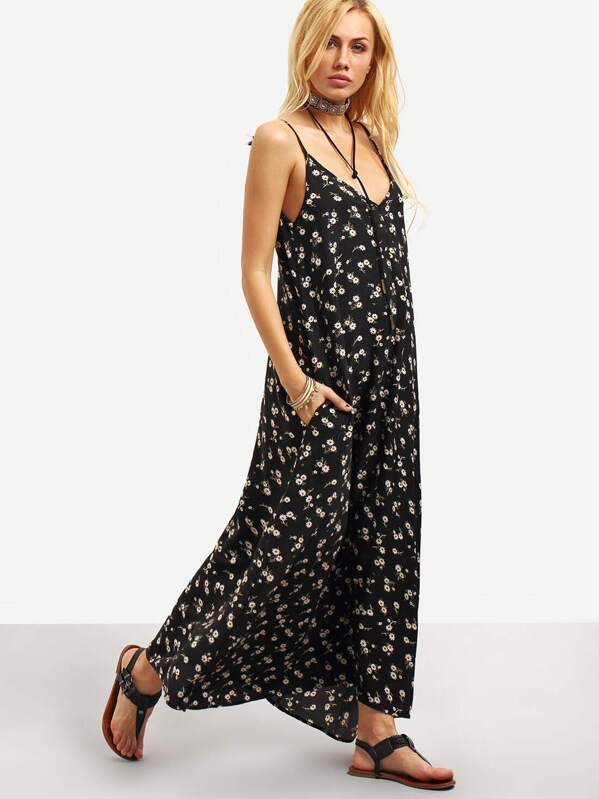 b8762260406 Plunging Ditsy Floral Cami Maxi Dress | SHEIN