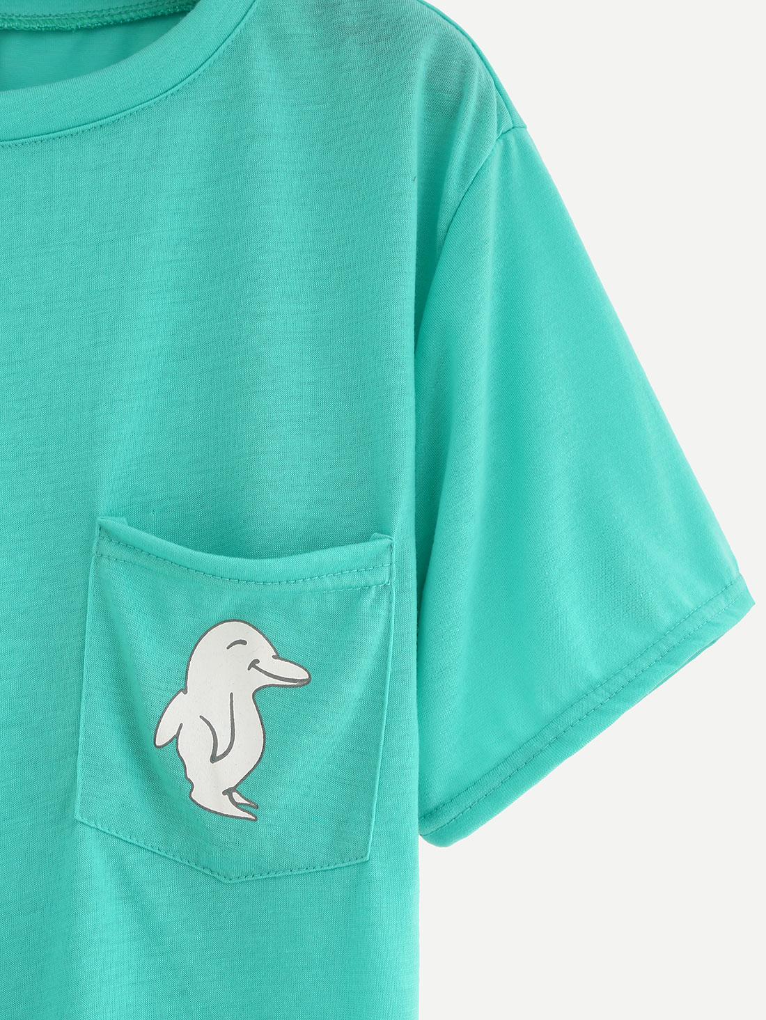 Green dolphin print pocket t shirt shein sheinside for Pocket t shirt printing