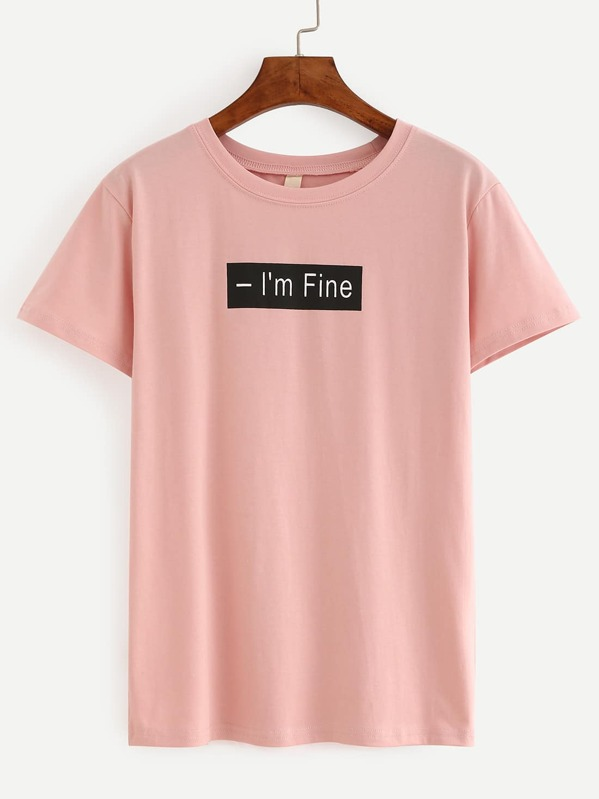 99840c56fe Letter Print Pink T-Shirt | SHEIN IN