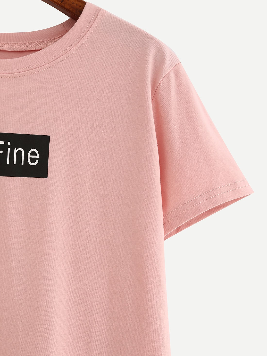 Letter print pink t shirt shein sheinside for Letter print t shirt