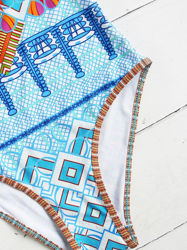 ceaa1ce8db46 Bañador cruzado étnico una pieza -azul claro | SHEIN ES