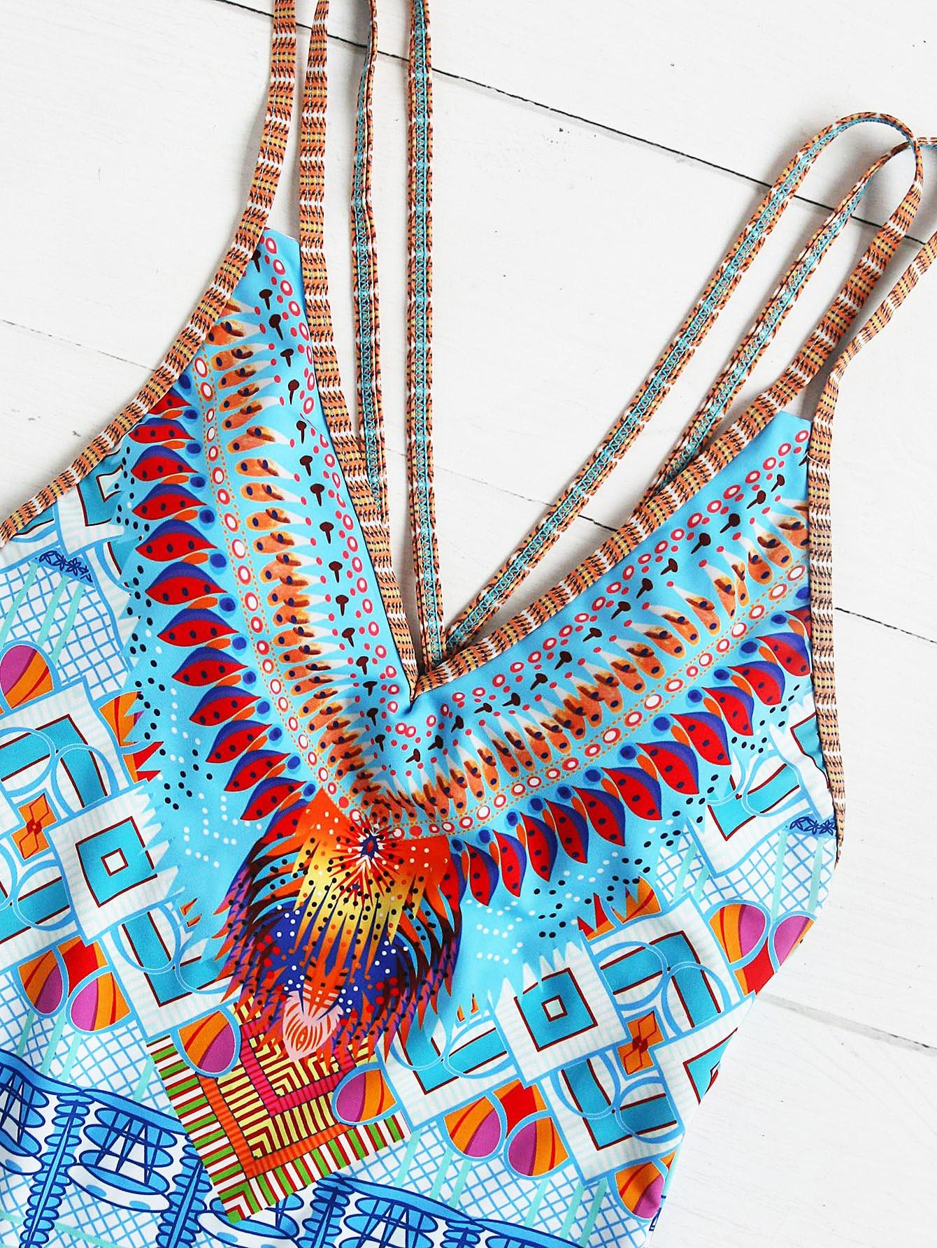 Crisscross Tribal Print One-Piece Swimwear - Light Blue