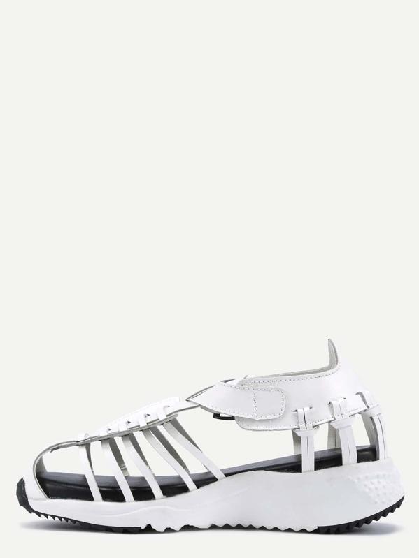 d9def428368f0 White Faux Leather Caged Platform Sandals