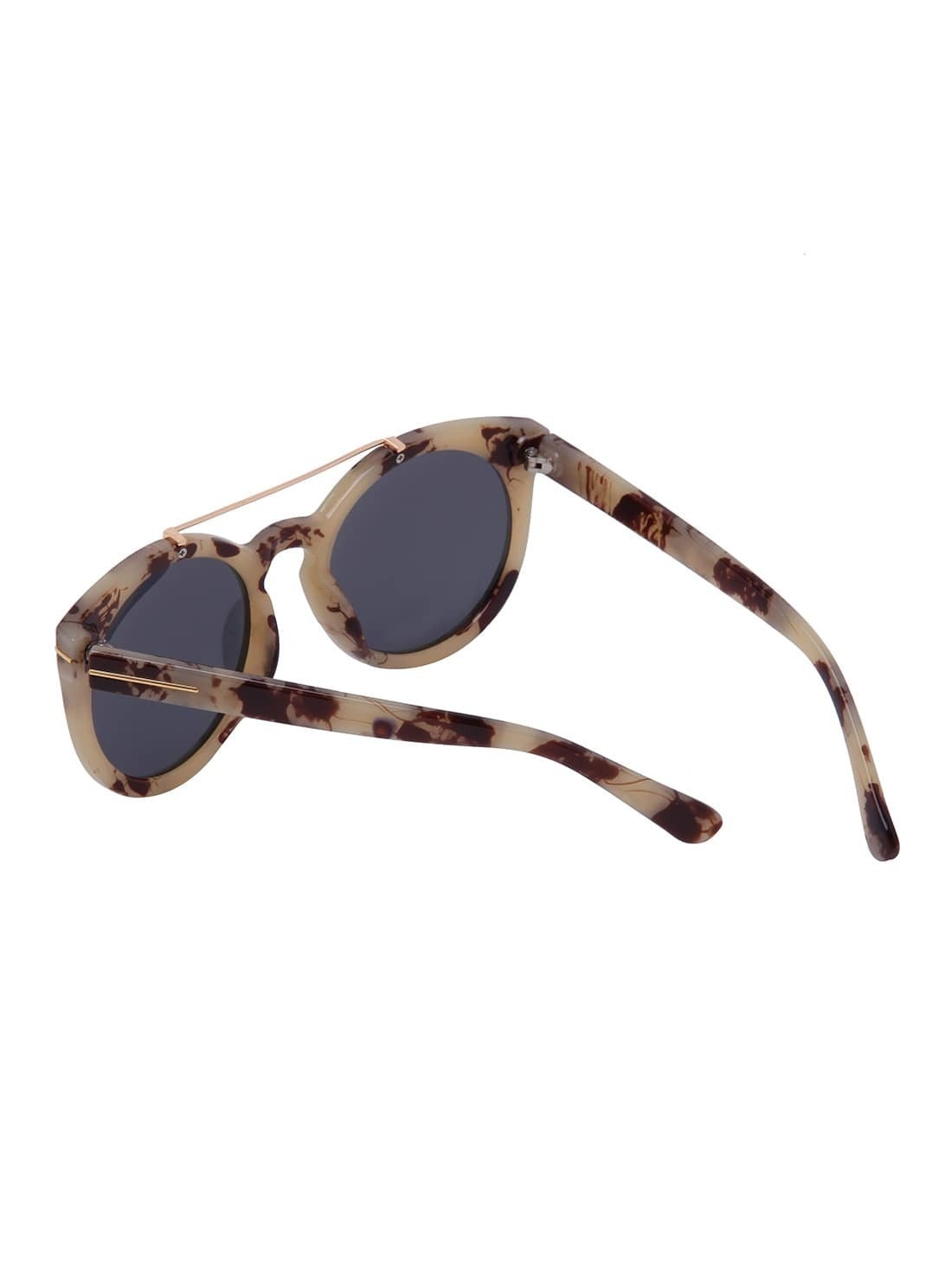 Aviator Sunglasses Without Top  brown frame top bar oversized round sunglasses shein sheinside