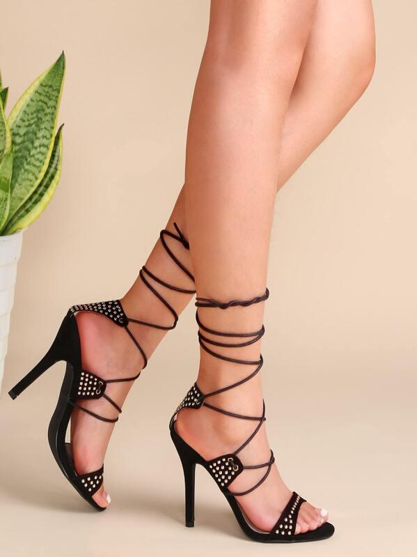 6d9a6d29291f Black Studded Lace Up Heeled Sandals -SheIn(Sheinside)