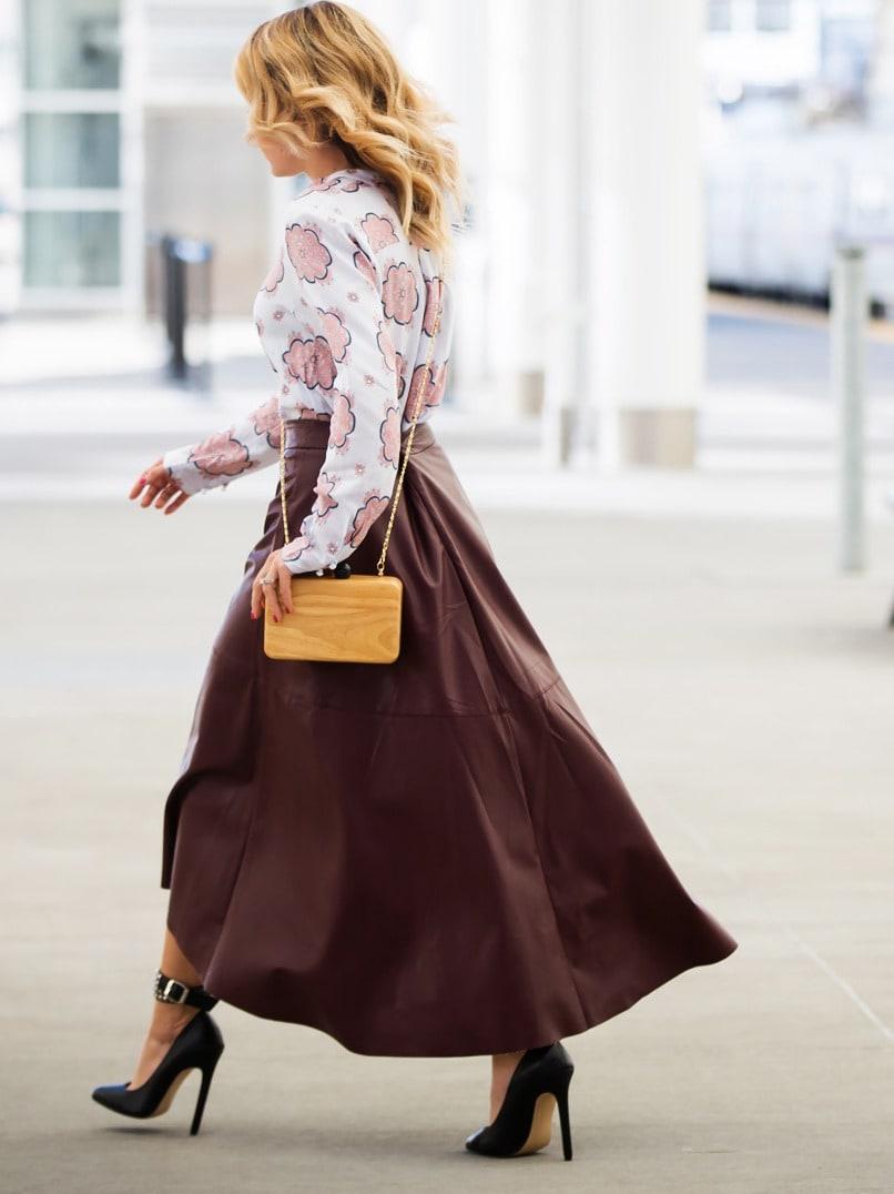 burgundy pu leather high low skirt shein sheinside