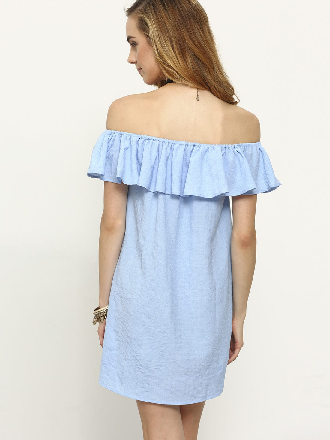 Flounce Off-The-Shoulder Dress - Blue