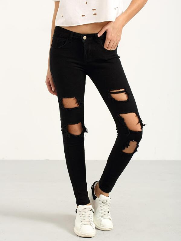 53e0c876ba3 Jeans vaquero roto -negro | SHEIN ES