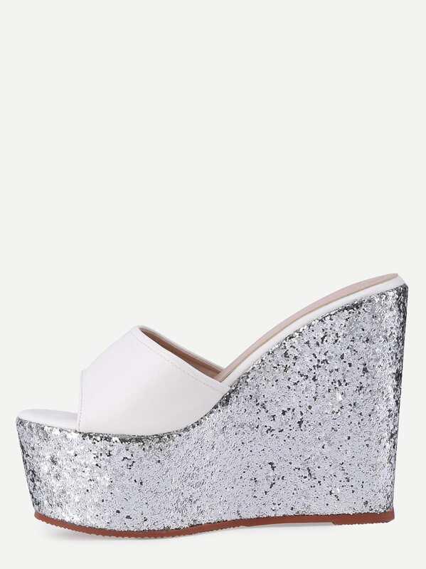 Block Toe Wedge Sandals Silver Open White srBdCthxQ