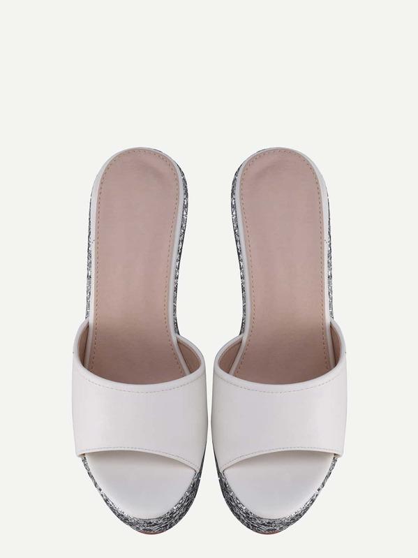 994bd820379 White Block Open Toe Silver Wedge Sandals -SheIn(Sheinside)