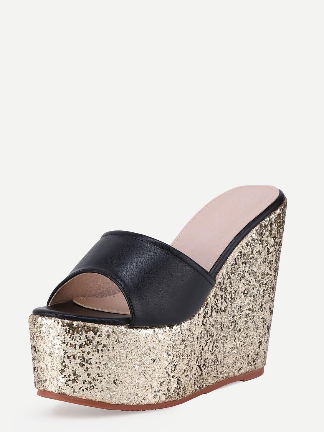 black block open toe gold wedge sandals shein sheinside